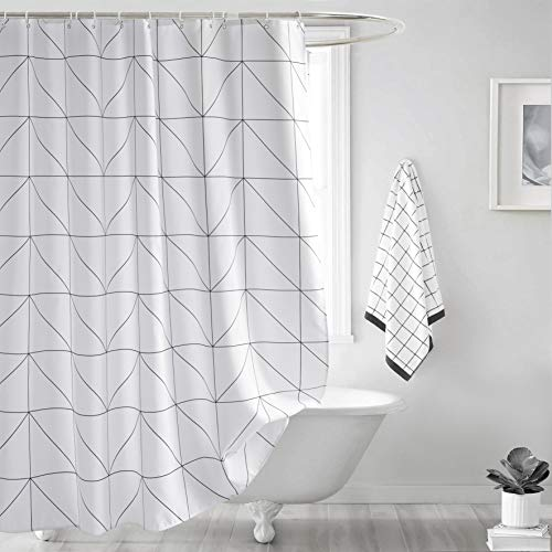 Seavish Fabric Shower Curtain, White Geometric Quick Drying Waterproof 72 x 78 inch Bathroom Shower Curtain Set with Hooks (White Geometric)