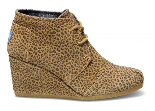 Toms Womens Desert Wedge Cheetah Suede10000458