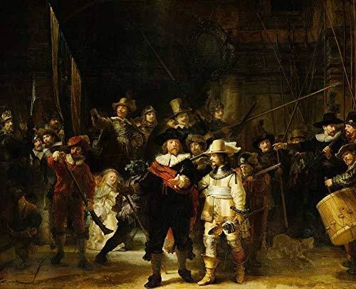 JH Lacrocon Rembrandt Van Rijn - La Ronda Noche Reproducción Cuadro sobre Lienzo Enrollado 100X80 cm - Pinturas Retrato De Grupo Impresións Decoración Muro