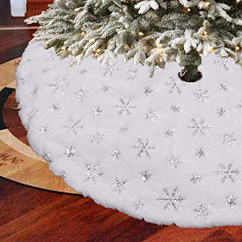 Vohoney Weihnachtsbaum Decke Weihnachtsbaum Rock Weihnachtsbaumdecke Rund Christbaumdecke Weihnachtsbaum Dekor Tannenbaum Decke (Weihnachtsbaumrock Silber, 122cm)