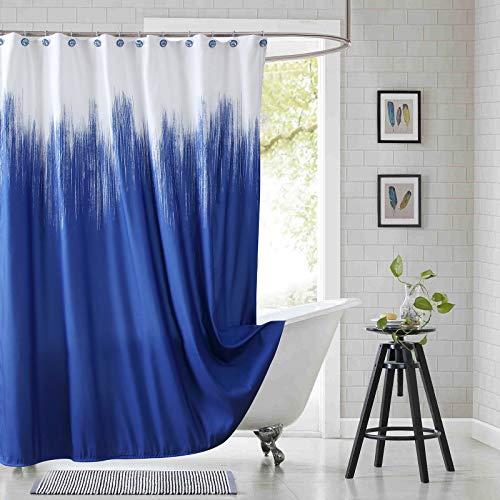 SDLIVING Lyon Duschvorhang, Polyester, Mikrofaser, wasserdicht, bedruckt, für Badezimmer, marineblau, 183 x 183 cm (B x H)