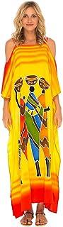 SHU-SHI Womens Long Kaftan Dress Beach Cover-Up Maxi Cold Shoulders Plus Size Caftan