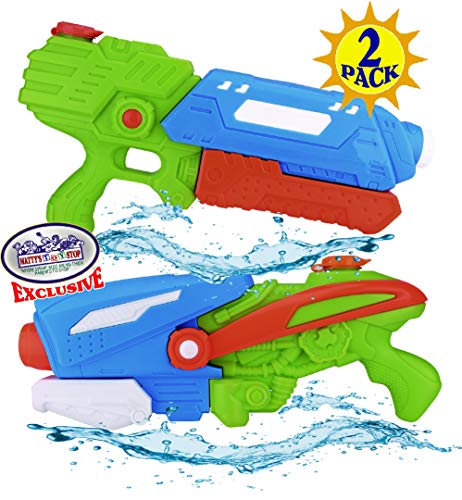 Matty's Toy Stop 17' Water Blasters (Soakers) Featuring Pump Action, 32oz Water Capacity, Easy Fill Spout & 24ft Distance Deluxe Battle Bundle - 2 Pack (Assorted Style & Colors)