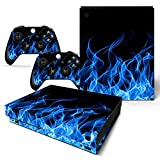 Mcbazel Pattern Series Skin Sticker for Xbox One X Console and Controller Blue Flame
