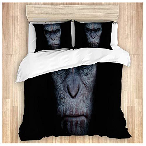 Bettwäscheset für Erwachsene, Motiv: Dawn of the Planet of the Apes, Bettbezug/Kissenbezüge/Laken 1 Bettbezug + 2 Kissenbezüge, King Size (220 x 240 cm)