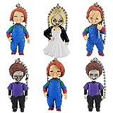 N / A Juego de 6 piezas de figuras de película de terror, juego de niños Chucky Novia de Chucky Hijo Muñeca Llavero Colgante Figura Modelo Regalos Juguetes