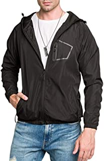 Comeon Mens Windbreaker Waterproof Casual Hooded Zip Lightweight Rain Jacket Poncho