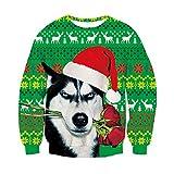 RAISEVERN 3D Neuheit Weihnachten Pullover Dumme Husky Hundefamilie Jumper Leichte Weihnachtspullover mit Langarm Slim Fit Kleidung für Sich Schwester Bruder Ihr Familienmitglied