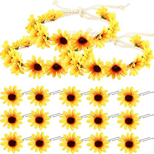 Sunflower Headband Wreath Sunflower Crown and Sunflower Hair Clips Sunflower Hairpins for Women Hair Accessories (18 Pieces)