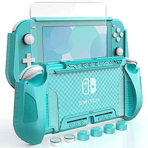 HEYSTOP Carcasa para Nintendo Switch Lite, Funda para Nintendo Switch Lite con Protector de Pantalla para Nintendo Switch Lite Console y Grips con Agarres para el Pulgar - Verde