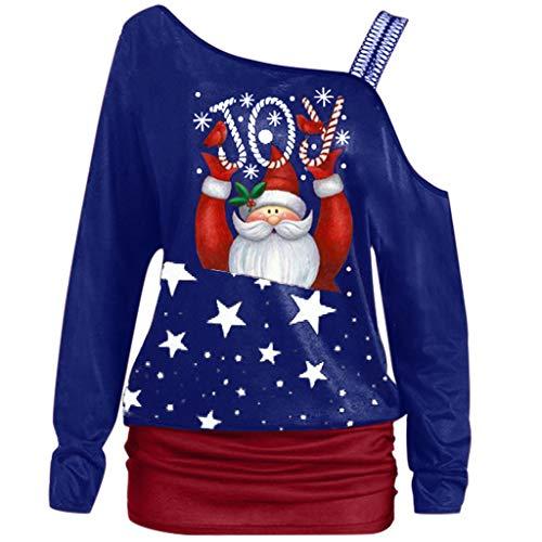 Vrouwen Kerst Sweatshirts, Dames Mode Lange Mouw Off Schouder Kerstman Gedrukt T Shirts Kerst Jumper Blouse Kleding