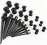 38 pc negro Auriculares de extensor de pecho para fitness Kit - acrílico de color negro en forma de cono Kit de instalación y negro caja de herramientas para 1,3 mm -10 millimeter