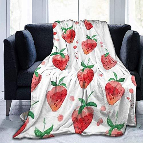 Coperta in micropile Coperta per il tiro Fragola fresca Stampata Coperta pelosa in microfibra ultra morbida leggera e calda per il divano del letto Soggiorno per tutte le stagioni , 50 'x40'