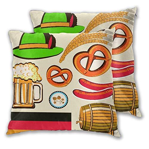 NANITHG Juego de 2 Fundas de cojín,Oktoberfest símbolo Salchicha de Trigo Cerveza y Pretzels Colorido arreglo bávaro,Decorativa Cuadrado Suave Funda de Almohada Sofá Sillas Cama para Hogar,45x45cm