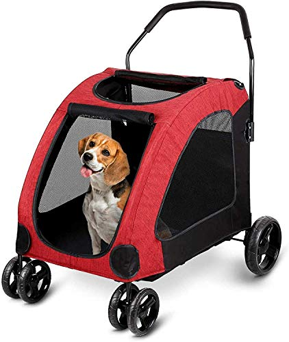 amzdeal Dog Stroller Pet Pushchair for Big Dogs 4-Wheeled Pet Travel...