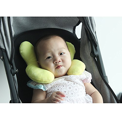 Wendsim Newborn Baby Travel Pillow-Baby Neck Support Pillow for Toddler Car Seat to Protect Baby's Head (Velvet-Lemon Yellow)