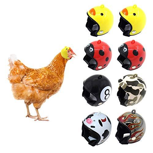 Pawstrip - Casco de pollo ajustable, 8 piezas, divertido casco para mascotas, accesorios para gallinas y mascotas pequeñas, apto para pollos, patos, ganso, loro y otras aves de corral