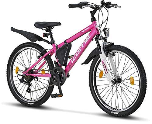 Licorne Bike Guide, (Rosa/Weiß, 24) 24 Zoll Kinderfahrrad, geeignet für 8, 9, 10, 11 Jahre, Shimano 18 Gang-Schaltung, Mountainbike mit Gabelfederung, Jungen-Mädchen-Fahrrad, Beleuchtung, MTB