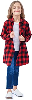 Girls' Long Sleeve Button Down Plaid Flannel Shirt Dress