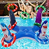 Uniqhia Inflatable Pool Ring Toss Games Toys, Floating Shark Flamingo Swimming Pool Ring with 6Pcs Rings, Swimming Pool Games for Kids Adults Summer Pool Party -US Patented