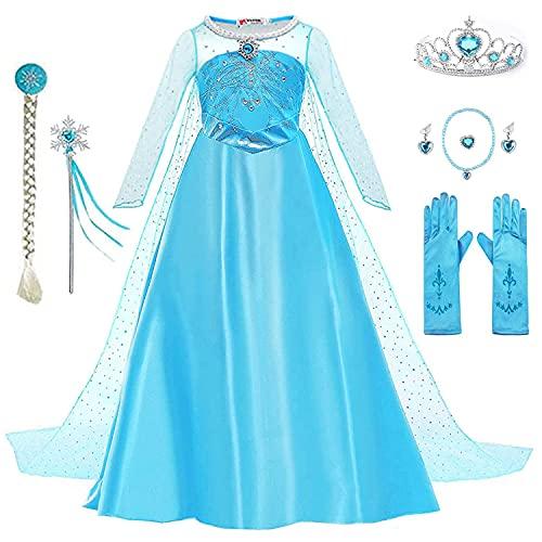 Yigoo Elsa Kleid Eiskönigin Prinzessin Kostüm Kinder Glanz Kleid Mädchen Weihnachten Verkleidung Karneval Party Halloween Fest mit Krone Blau 130