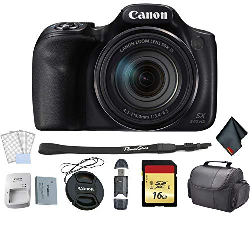 Canon PowerShot SX540 HS Digital Point and Shoot Camera Bundle with 16GB Memory Card + LCD Screen Protectors + SD Card USB Reader and More - International Version