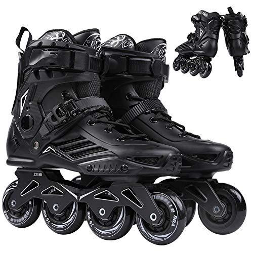 XJBHD Pattini in Linea per Donne e Uomo Carbonio Rollerblade Professionale Pattini a Rotelle Pattini Comodi Scarpe Speed Skating Ldeali per Principianti per Adulti Sport Outdoor Black-42