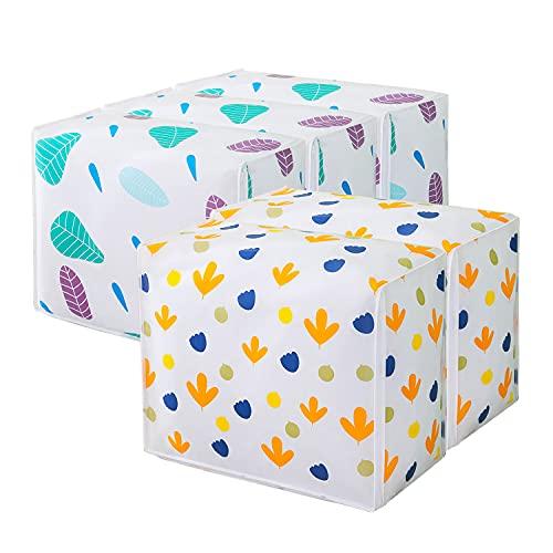 Qisiewell Bolsa de almacenamiento de ropa de 60 x 48 x 30 cm con asa reforzada y cremallera resistente de tela gruesa para ropa de cama ropa de cama almohadas plegable grande, color blanco 5 unidades
