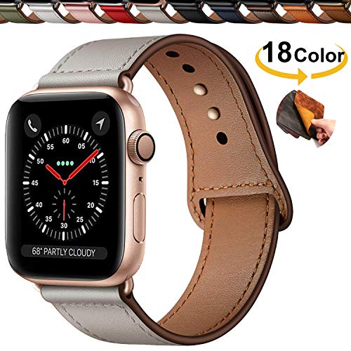 Qeei Compatible with Apple Watch Correa 42mm 44mm,Innovador Hebilla Piel Genuina Encubierto Hebilla Ensure Clean Fit Correa Replacment for iWatch Series 5 & 4 3/2/1,Ivory White