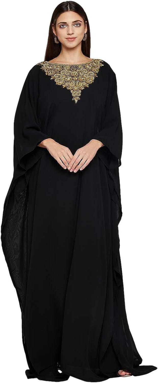 ANIIQ Women Dubai Farasha Kaftan Long Sleeves Evening, Party, Wedding Dress with Free Scarf