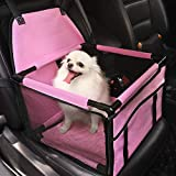 HIPPIH Small Dog Car Seat, Upgraded Booster Seat for Car with Whole Sturdy PVC Bars Frame, Pet Car Seat for Medium Dogs Under 11 lb, Waterproof Anti-Skid Mat Included, Pink