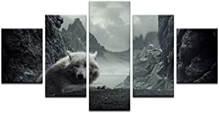 MONDFH 5 Canvas Paintings 5 Panel Animal HD Printed Modular Canvas Painting Lone Wolf Canvas Print Art Modern Home Decor Wall Art Picture for Living Room