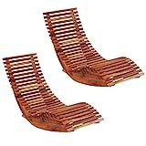 vidaXL 2X Bois d'Acacia Chaises Longues Basculantes Meuble de Jardin Chaise de Terrasse Chaise de Salon Balcon Patio Extérieur Chambre