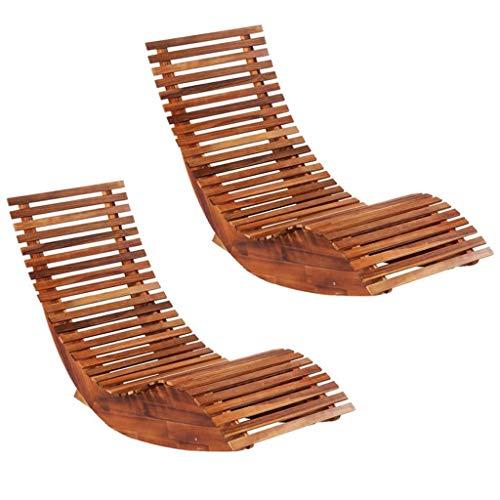 vidaXL 2x Acacia Wood Rocking Sun Loungers Outdoor Garden Patio Terrace Poolside Seating Sun Day Bed Chaise Lounge Relaxing Furniture