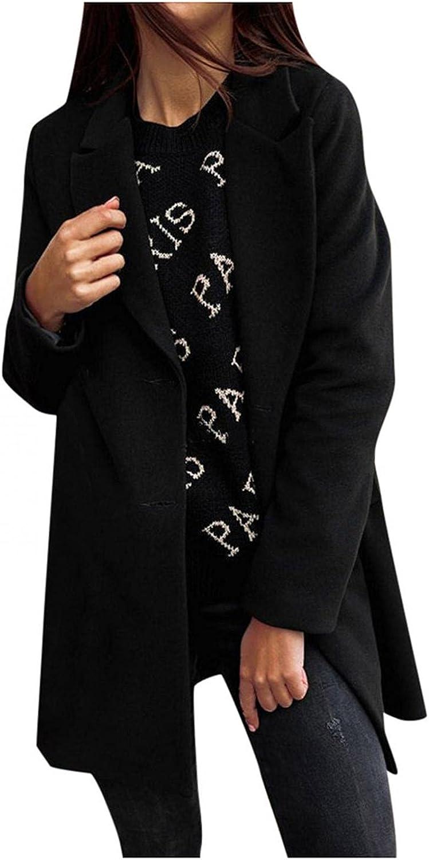 YUNDAN Women Faux Wool Blend Trench Coat Long Sleeve Big Notch Lapel Double Breasterd Slim Elegant Long Jacket Outwear