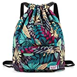 Waterproof Drawstring Bag, Gym Bag Sackpack Sports Backpack for Men Women Girls (50- Blue leaf)