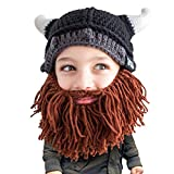 Beard Head Kid Viking Beard Beanie - Horned Hat and Fake Beard for Kids Toddlers Brown