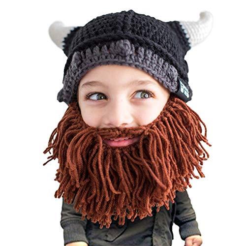 Beard Head Kinder Wikingerhelm Bartmütze – Lustige Strickmütze und falscher Bart...