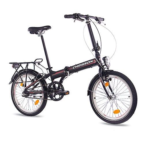 CHRISSON 20 Zoll Faltrad Klapprad - Foldrider 2.0 schwarz - Faltfahrrad für Herren und Damen - 20 Zoll klappbares Fahrrad mit 3 Gang Shimano Nexus Nabenschaltung - Folding City Bike