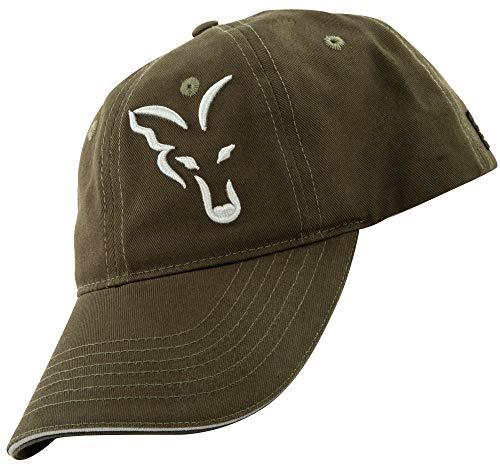 FOX Baseball Cap Green Silver - Angelcap für Angler, Cappy für Karpfenangler, Basecap, Sonnenschutz, Baseballmütze, Schirmmütze