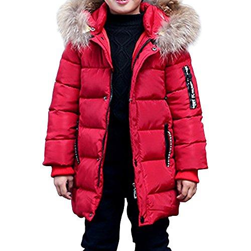 Phorecys - Abrigo de invierno con capucha con piel - Para niño granate 3-4 Años