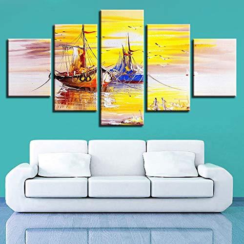 Woonkamerdecoratie, modulair, posters, huis, 5 delen, boot, mooi beeld, landschap, HD-druk, muurkunst, canvas, frame, modern schilderij L-30x40 30x60 30x80cm Frameloos.