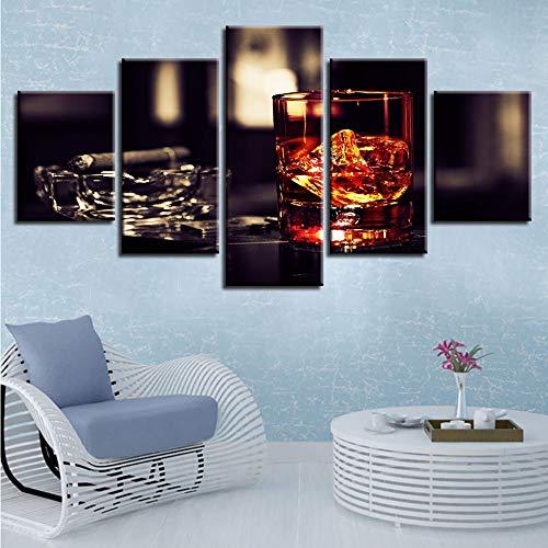 Pmhc Canvas kunst Moderne decoratie Hd Print 5 stuks sigaretten glazen schaal Wined Pictures Poster Modulaire schilderijen muurkunst 40 x 60 cm x 2 40 x 80 cm x 2 40 x 100 cm frameless