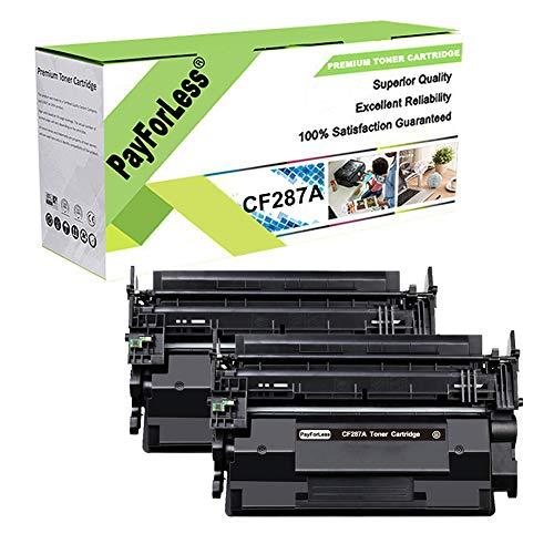 PayForLess Toner Cartridge 87A CF287A 2PK Black Compatible for HP Laserjet Enterprise M501dn M501n M506 M506n M506x M506dn MFP M527 Series Printers (87X CF287X)