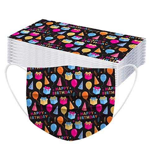 CawBing Birthday Gifts DisposableFaceMasks for Her Him 30PCS Happy Birthday Printed Decorations Balaclava 3 ply Comfort Breathable FaceCoverings with Elastic Earloop Protection Bandana