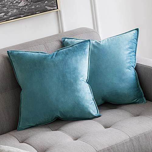 MIULEE 2er Set SAMT Kissenbezug Kissenhülle Dekorative Dekokissen mit Verstecktem Reißverschluss Sofa Schlafzimmer Auto 18x 18 Inch 45 x 45 cm 2er Set Hellblau