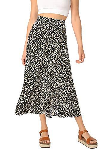 SheIn Women's Polka Dot A-Line Button Side Split Midi Knee Length Skirt Black Medium