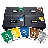5 etichette adesive per raccolta rifiuti. Adesivi per il riciclaggio. Ogni etichetta di 4,8 x 4,8 cm. (Colore 1) (XS)