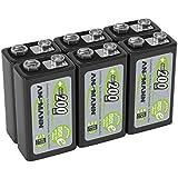 ANSMANN Akku 9V Block 200mAh NiMH 6 Stück mit geringer Selbstentladung - Wiederaufladbare Batterien maxE mit hoher Kapazität - 9