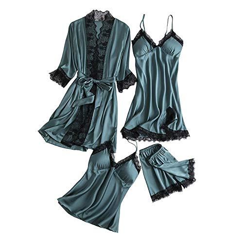 ZYZYY Ondergoed 4-delige Damesherfst Badjas + Nachtkleding + Tops + Broek Satijn Pijamas Sets met kant Slaapmode